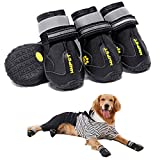 MIEMIE Dog Boots, Waterproof Dog Shoes, Non Slip Durable Outdoor Pet Dog Booties with Reflective Strips for Small Medium and Large Dogs Black 4PCS Size 8