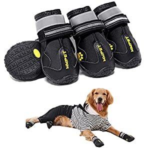 MIEMIE Dog Boots, Waterproof Dog Shoes, Non Slip Durable Outdoor Pet Dog Booties with Reflective Strips for Small Medium and Large Dogs Black 4PCS Size 5