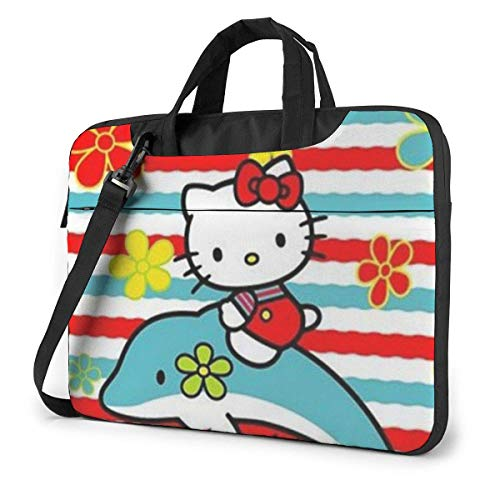 Hello Kitty and Dolphin Laptop Bag Busin Briefcase for Men Women, Shoulder Menger Laptop Sleeve Case Carrying Bag- 15.6 Inch