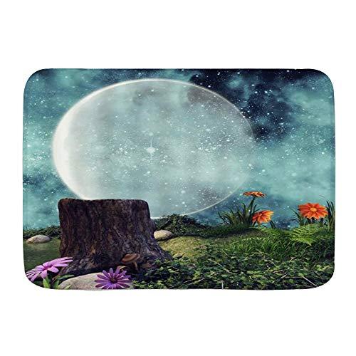 Minalo Dekorativer Badezimmer Boden Teppich,Mondfee Sternenhimmel Fantasie Nachtblumen Pflanzen Baumstumpf,Badematte rutschfest,75 x 45 cm