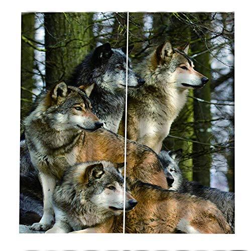 PERFECTPOT Vorhang Blickdicht Wolf Tier Wald Gardinen mit Haken 100% Polyester Isolierend Geräuschreduzierung Verdunkelungsvorhänge für Wohnzimmer Kinderzimmer Schlafzimmer Küche Dekoration 280x250cm
