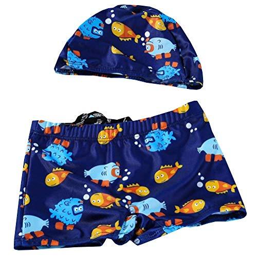 スイムウェアキッズ 子供用水着 男の子 1−15歳 スイムキャップ キッズ 2点セット スイムパンツ 幼児 水泳帽こども 男児 水遊びパンツ キャップ付き カッコイイ 温泉水着 魚A160