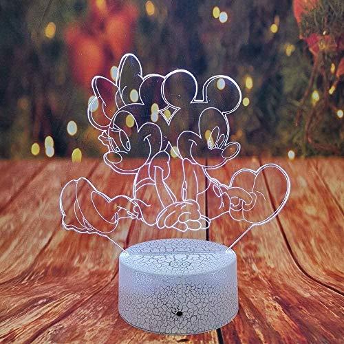 Lampe de nuit 3D Minnie Mickey Mouse lampe 7 dégradé de couleur voiture LED lampe enfants garçons jouets décor de Noël cadeaux d'anniversaire