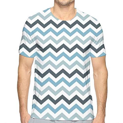Mens 3D Printed T-shirts, Ocean geïnspireerd beeld met scherpe Zig Zag Chevron Image