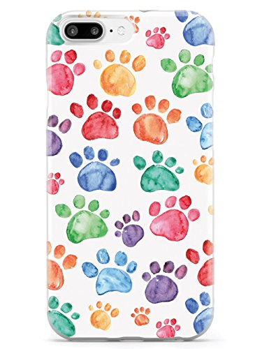 Inspired Cases - 3D Textured iPhone 8 Plus Case - Rubber Bumper Cover - Protective Phone Case for Apple iPhone 8 Plus - Watercolor Paw Prints