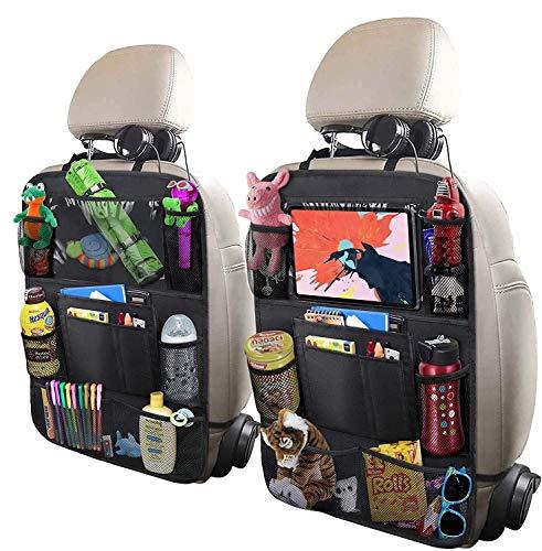 Organizador de 2 asientos traseros para automóvil, soporte para tableta con pantalla táctil de 10', 9 bolsillos de almacenamiento con botella de juguete