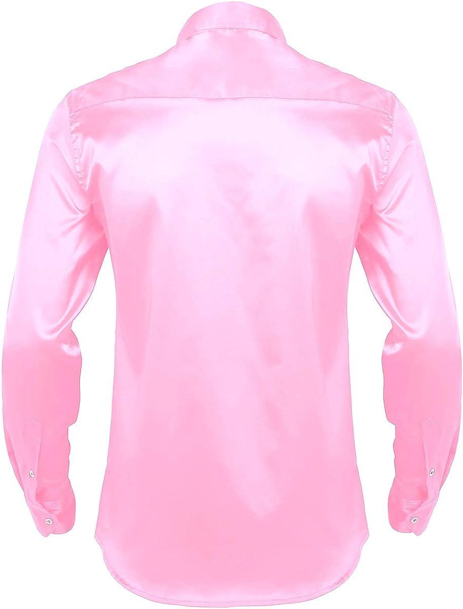 ACSUSS Men's Solid Regular Long Sleeve Business Shirt Fit Button Down Dress Shirts
