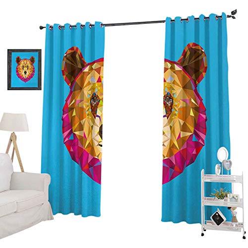 YUAZHOQI - Cortinas para sala de estar, diseño geométrico, diseño fractal triangular con efecto polivinílico, cortina reductora de ruido, 132 x 213 cm, color azul fucsia