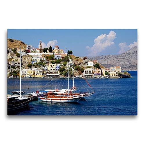Premium Textil-Leinwand 75 x 50 cm Quer-Format Hafeneinfahrt von Symi   Wandbild, HD-Bild auf Keilrahmen, Fertigbild auf hochwertigem Vlies, Leinwanddruck von Thilo Seidel