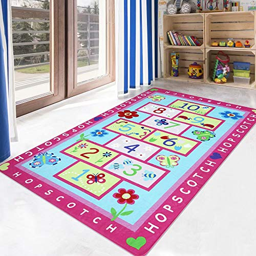 LIVEBOX Hopscotch Kids Play Mat, 3' x 5' Playroom Area Rug Soft Flannel Children Carpet Great for Educational & Fun with Toys Throw Rug for Living Room Bedroom Nursery Best Shower Gift