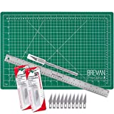 WA Portman Cutting Mat Craft Knife Precision Ruler Set - 12x18 Inch Self Healing Mat - Hobby Knife - 10 Replacement Blades Compatible with Most X acto Knives - 18 Inch Premium Steel Ruler
