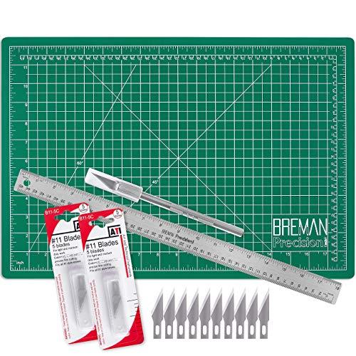 WA Portman Cutting Mat Craft Knife Precision Ruler Set - 12x18 Inch Self Healing Mat - Hobby Knife - 10 Replacement Blades - 18 Inch Premium Steel Ruler - for Crafts Model Kits Paper Plastic Fabric
