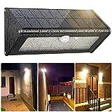 Luz Solar Exterior, �Aleación de aluminio/ 4 Modos/4500mAh Batería】Foco led exterior 1100LM con Sensor Movimiento Duradero con placa impermeable Luces Solares Lámpara Solar para Jardín