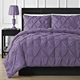 Comfy Bedding Double Needle Durable Stitching 3-Piece Pinch Pleat Comforter Set All Season Pintuck Style, King, Purple