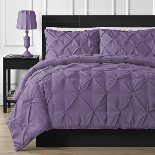 Double Needle Durable Stitching Comfy Bedding 3-piece Pinch Pleat Comforter Set All Season Pintuck Style (Queen, Purple)