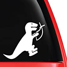 EvolveFISH T-Rex Eating Christian Fish Vinyl Decal White 5