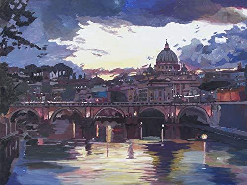 Original Leinwand Gemälde Rom Italien Spektakulärer Sonnenuntergang über dem St. Peter Vatikan mit Tiber und Brücke