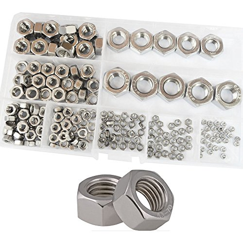 Hex Nuts Metric Thread Hexagon Coarse Nut Silver Tone Standard Fastener Hardware 210Pcs M2 M2.5 M3 M4 M5 M6 M8 M10 M12 Assortment Kit Set Box 304 Stainless Steel