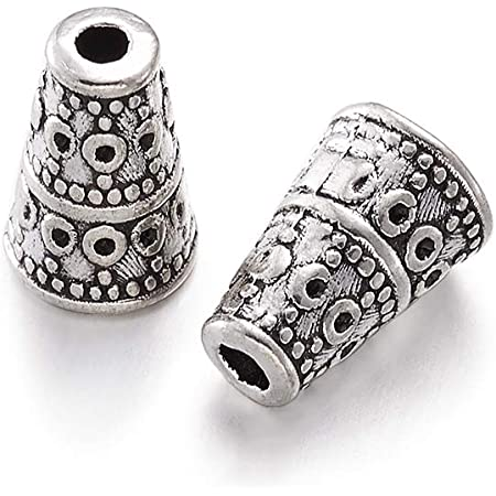 FAFAHOUSE 30 Pcs Antique Silver Tone Cone End Beads Caps Metal Bead End Caps Spacers for DIY Jewelry Making