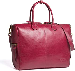 Leather Women's Handbag Casual Leather Fashion Leather Female Shoulder Diagonal Package Waterproof (Color : Red, Size : L)