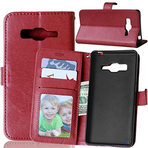 Fatcatparadise Kompatibel mit Samsung Galaxy Z3 Hülle + Bildschirmschutz, Flip Wallet Hülle mit Kartenhalter & Magnetverschluss Halterung PU Leder Hülle handyhülle (Braun)
