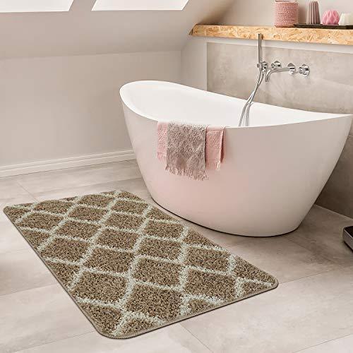 Paco Home Moderne Badematte Mit Rauten Design Hochflor Badteppich In Beige Weiß, Grösse:60x100 cm