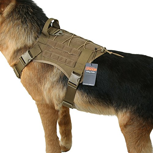 EXCELLENT ELITE SPANKER Tactical Dog Harness Military Dog Harness Working Dog Vest Molle Adjustable Training Vest Patrol K9 Harness Large with Handle(Coyote Brown-L)