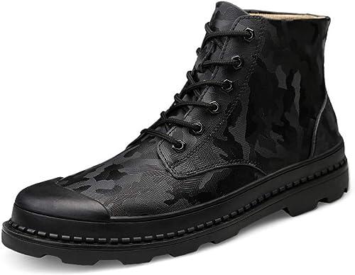 Shuo lan hu wai Bottines pour Hommes Bottes Martin doublées de Molleton à Motif de Camouflage décontracté de personnalité décontractée,Chaussures de Cricket (Couleur   Camouflage noir, Taille   38 EU)