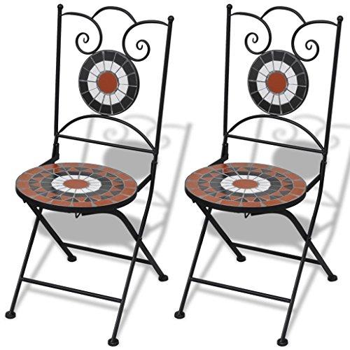 vidaXL Set 2 sillas Mosaico Asiento de ceramica jardin terraza balcon Terracota Blanco