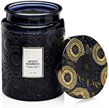 product image for Voluspa Moso Bamboo Large Embossed Glass Jar Candle, 16 Ounces