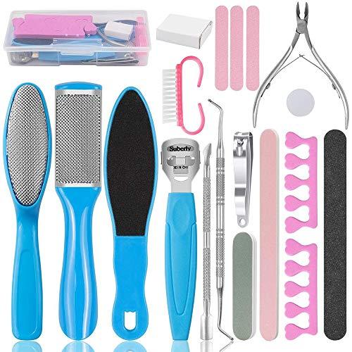 Gobesty Kit de herramientas de pedicura para limas de pies, 20 piezas Kit de limpieza de pies para mujeres y hombres, salón en casa para removedor de piel dura