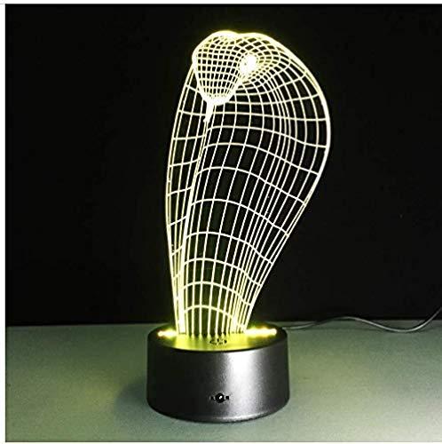 Luz nocturna 3D ilusión Deco LED Lámpara Cobra serpiente para hombres, mujeres, niños, niñas, regalo Con interfaz USB, cambio de color colorido