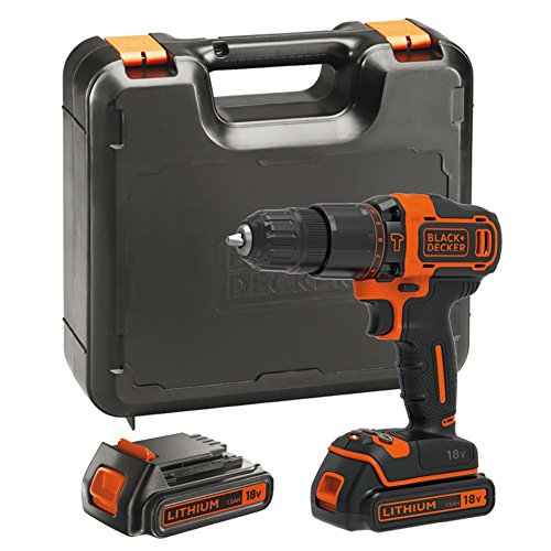BLACK+DECKER 18 V Cordless 2-Gear Combi Hammer Drill with Kitbox, 2 x 1.5 Ah Lithium-Ion Batteries, BDCHD18KB-GB