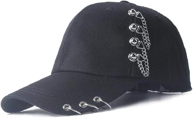 1pc Unisex-Ringe Baseballkappe Einstellbarer Snapback Hip Hop-Hut Baumwolle Atmungsaktiv Piercing Ring Punk Hutsun Cap
