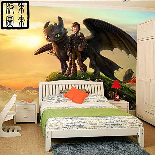 MUDRNO Wie Drachenzähmen Fototapete 3D Cartoon Tapete Fototapete Designer Art Boys Kinderzimmer Dekor Schlafzimmer Wohnzimmer,300X210Cm