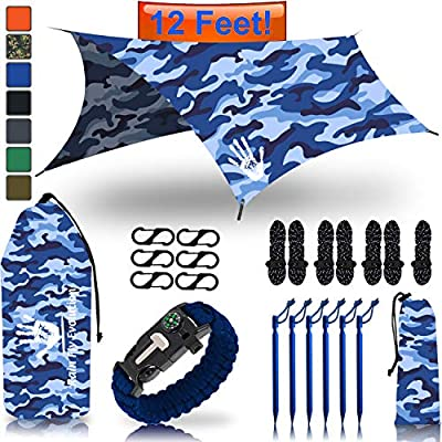 Rain Fly EVOLUTION 12 x 10 ft Camping Hammock RAIN Fly Waterproof Tent TARP & Survival Bracelet – Lightweight – Backpacker Approved – Diamond Ripstop – Perfect Hammock Shelter – CAMO Blue