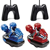 Sharper Image Set of Two Stunt Remote Control Bumper Cars with Drivers, 2.4Ghz Multiplayer Technology, Easy and Fun for Kids to Play, Battery-Operated - Red/Blue