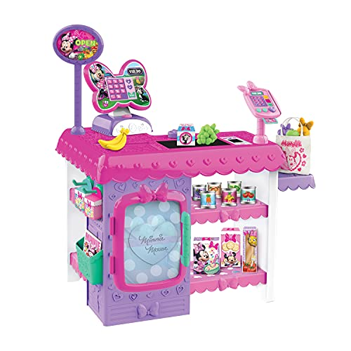 Minnie Mouse Disney Junior Marvelous Market, Pretend Play Cash Register with Realistic Sounds, 45 Play Food Pieces and Accessories, by Just Play