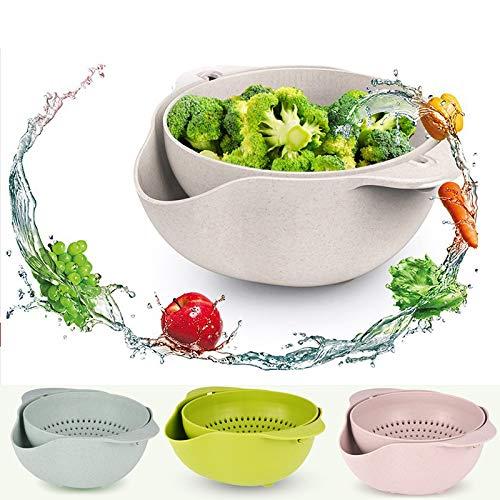 Yuzha 2-in-1 groenten, groenten, leegkorf, dubbele laag, fruitzeef, reservoir voor pasta, spaghetti, keukenzeef, accessoires Blauw