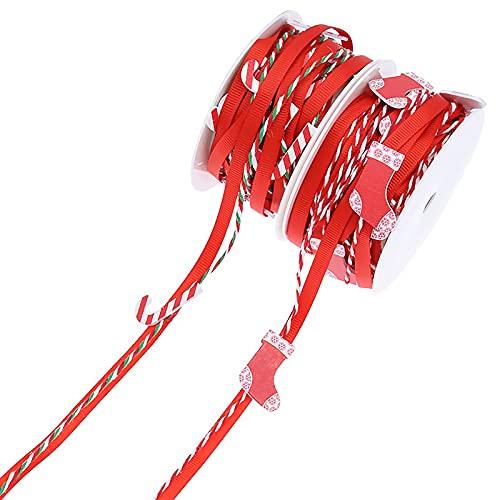 Cinta navideña,2 rollos Cinta de Grogrén Navideña cinta temática navideña paquete de regalo cinta para envolver Cinta de Satén de Poliéster para Navidad para decoración del árbol de Navidad