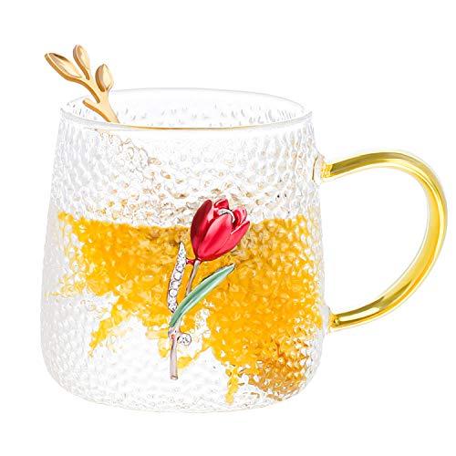 COAWG Glas Teetasse mit Löffel, Lead-Free Handgemacht Glas Tasse Kaffeebecher 3D Blumen Becher Kaffee Saft, Bier Warme und kalte Getränke für Frauen Oma Graduation Mädchen Geburtstag Muttertag (ROT)