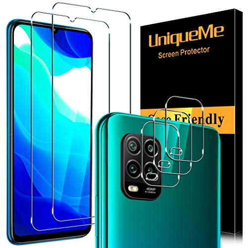 UniqueMe para Xiaomi Mi 10 Lite/Mi 10 Lite 5G [2 Pack] Protector de Pantalla y [3 Pack] Protector de lente de cámara, [Cobertura máxima][Sin Burbujas] HD Cristal Vidrio Templado