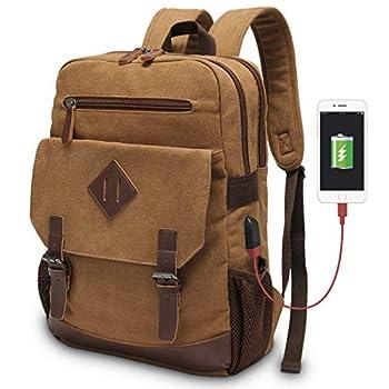 Canvas Backpack for Men Women Vintage Rucksack Fits Most 15.6 Inch Laptop Bookbag with USB Charging Port Brown