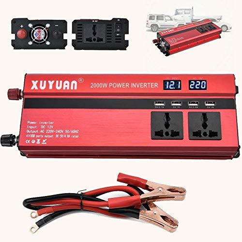 FHISD inversor 1000W Inversor de Corriente Coche DC 12V / 24V a AC 220V Convertidor de Onda sinusoidal modificada con 4 Salidas USB Cargador de batería de 5V Cables Peak 2000W