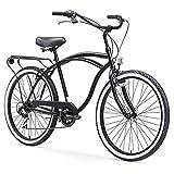 sixthreezero Around The Block Men's 7-Speed Beach Cruiser Bicycle, 26' Wheels, Matte Black with...