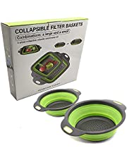 Folding baskets Food Grade Silicone Kitchen Collapsible Colander, Includes Two Sizes, Can be Used as a Strainer and Fruit Basket