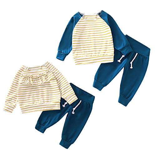 Baby Brother Sister Family Matching Outfits Newborn Boy Girl Ruffle Striped T-Shirt Solid Pants Clothing Set (Sister, 12-18 Months)