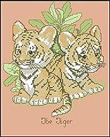 クロスステッチキャンバス初心者刺繍キットリトルタイガー40x50cmDIY刺繍を刻印するためのスターターキット大人と子供のための創造的な贈り物11CT