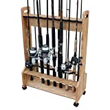 Rush Creek Creations American Cherry 16 Fishing Rod/Pole - Double Sided Rolling Storage Rack, 35...