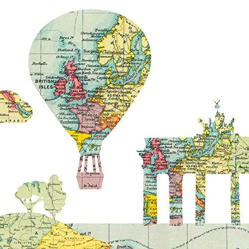 Anna Wand Bordüre selbstklebend Hello World Mehrfarbig - Wandbordüre Kinderzimmer/Babyzimmer im Weltkartendesign - Wandtattoo Schlafzimmer Mädchen & Junge, Wanddeko Baby/Kinder